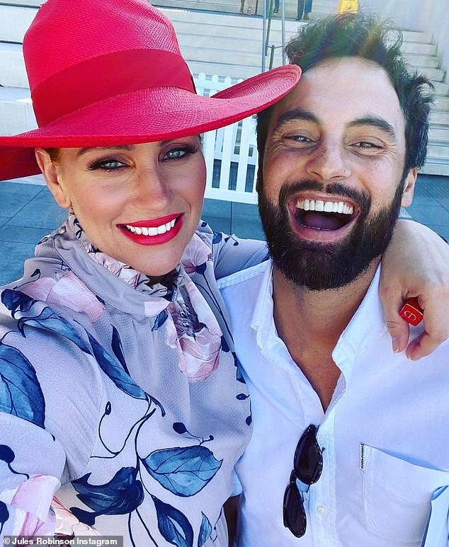 Parents gone wild:Married At First Sight couple Jules Robinson and Cameron Merchant welcomed their son last month. On Tuesday, the new parents were ready to let loose on Melbourne Cup day. Both pictured