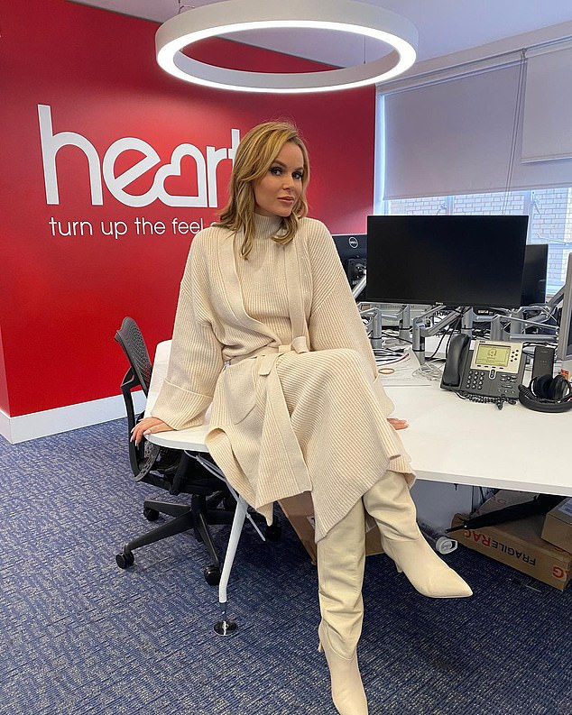 Sharing a snap of her outfit once in the studio, Amanda wrote: '#morning all snuggled up on this [rainy] day. @thisisheart whole outfit @zara'