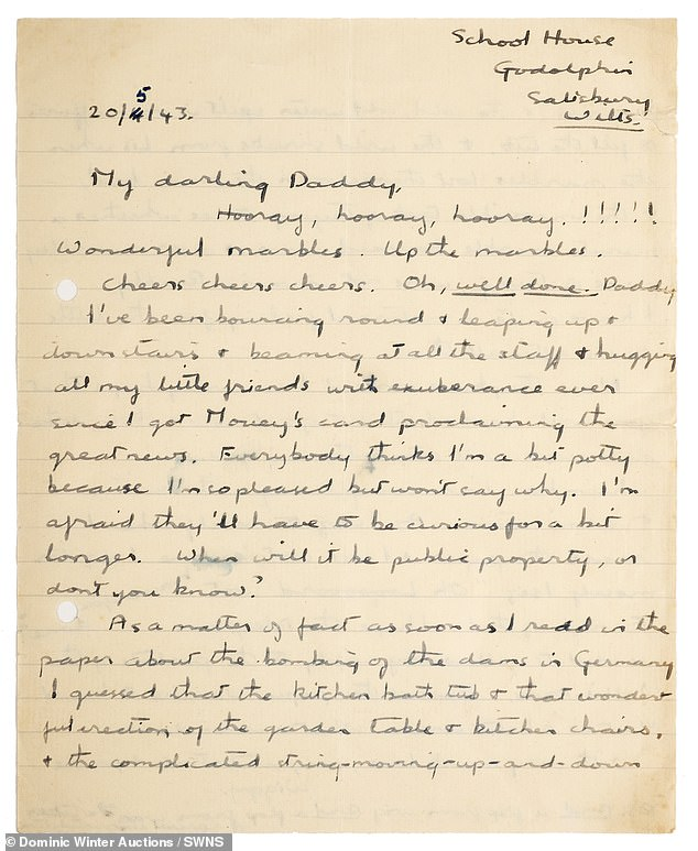 This letter to the inventor of the bouncing bomb Barnes Wallis from his daughter Mary 'Wiggy' Wallis which celebrates its success and recalls how they practised it with marbles is up for sale
