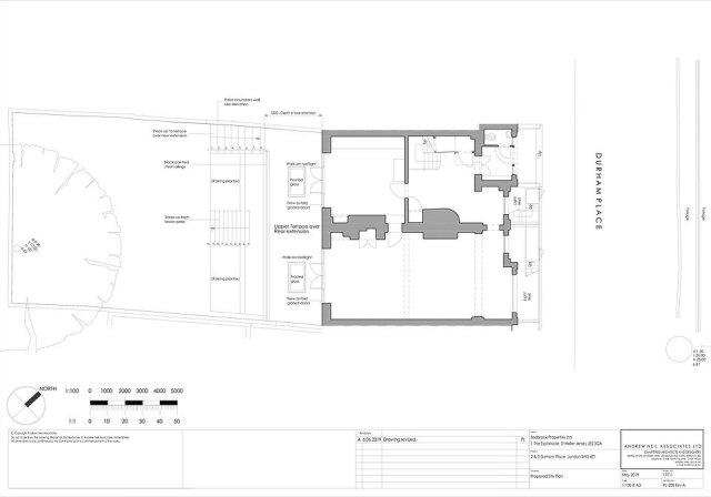 New steps from the new basement to the garden and then to the upper terrace were also shown in the new design drawings