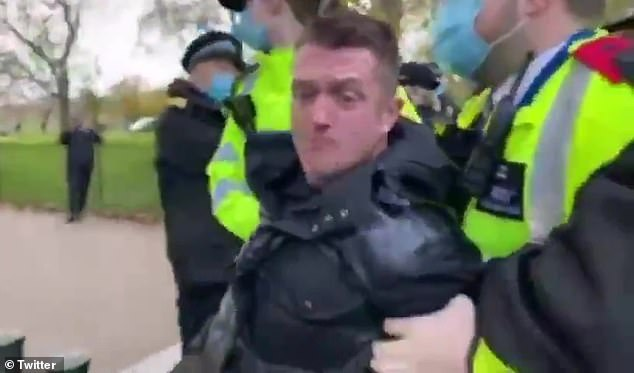 Robinson appeared to be arrested on Sunday after allegedly breaching coronavirus restrictions at a protest in Hyde Park