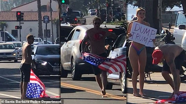 A shirtless man with a bikini-clad woman was seen snatching an American flag and MAGA hat from a Trump supporter in Santa Barbara this weekend before shoving him to the ground, as tensions boil over in the run-up to the election