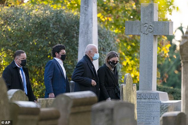 Joe Biden started election day Tuesday by attending morning mass and visiting his son Beau's grave in Delaware (pictured)