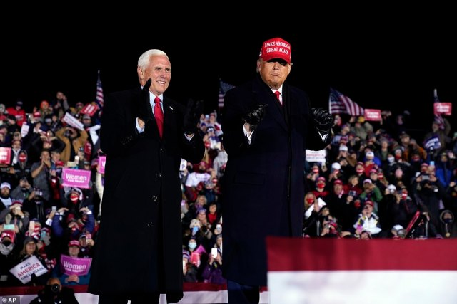Trump (pictured right) also said he would not state he won reelection 'until there is victory' amidst reports he would prematurely declare victory