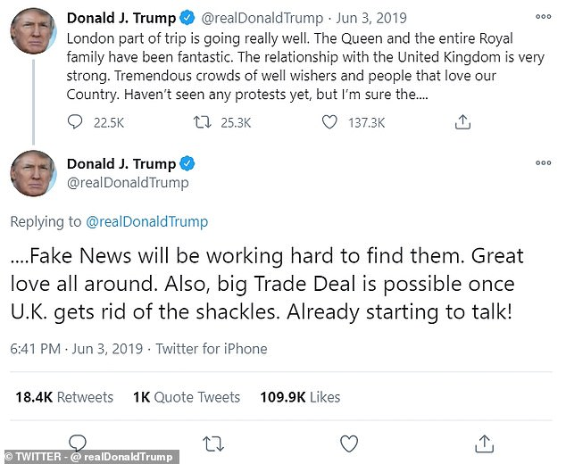 Donald Trump last year insisted a 'big trade deal' was possible between the UK and US after Brexit