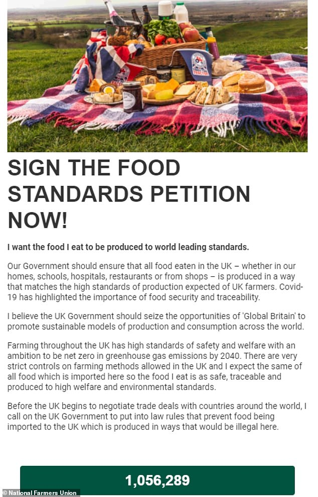 A petition by the UK's National Farmers Union asking the Government not to sacrifice UK food standards in any future trade deal has attracted more than 1m signatures