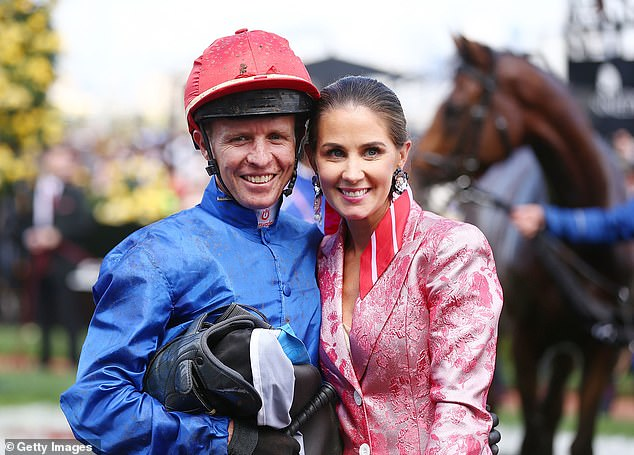The three-time Melbourne Cup-winning jockey pleaded guilty and he will also serve a 13-meeting suspension for the breach. Pictured with his wife