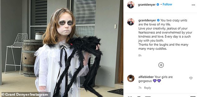 'Two crazy units': In a post shared to Instagram on Tuesday, the TV personality shared pictures of the youngsters in their Halloween outfits as he thanked them for their 'kindness and love'