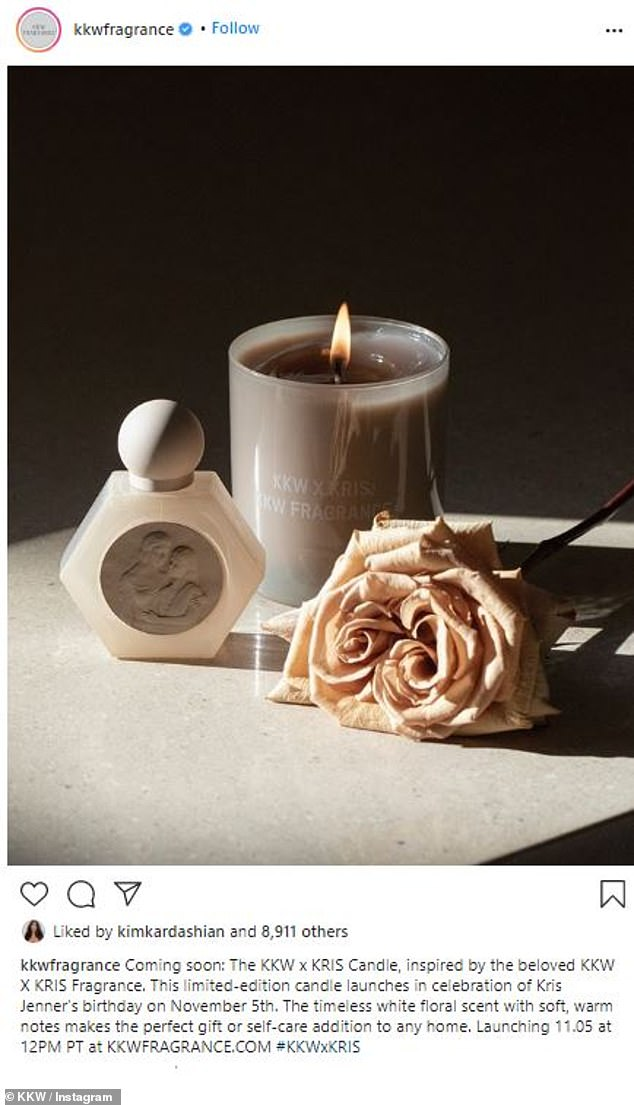 Thrilled with this:'I'm so excited to introduce the new KKW X KRIS candle, a beautiful scent for the home inspired by our best selling @KKWFRAGRANCE collaboration that we launched earlier this year,' said the 40-year-old mogul