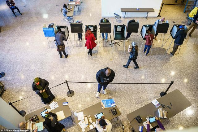 MINNEAPOLIS, MINNESOTA: Residents vote at a polling station in Minneapolis on Tuesday morning