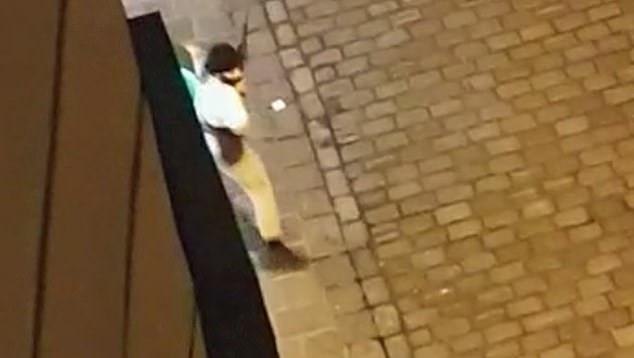 A man with what looks like an AK-47 and believed to be the gunman behind Vienna rampage