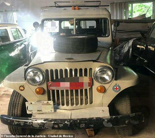 Mexico City's former police chief Raymundo Collins will also have to answer as to why he never included his valuable fleet of vintage cars in his tax documents. Pictured above is a 1960's Jeep
