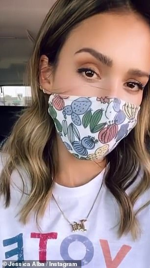 Have your say: Jessica Alba and Lindsey Vonn masked up as they shared vote themed selfies