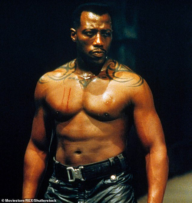 Reality check: 'Let me tell you one thing. If I had tried to strangle David Goyer, you probably wouldn't be talking to me now,' said the Passenger 57 actor. Seen here in 1998's Blade