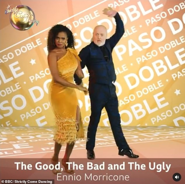 Determined: Bill Bailey, who also impressed with his Quickstep, will Paso Doble to The Good, The Bad and The Ugly by Ennio Morricone with his partner Oti Mabuse