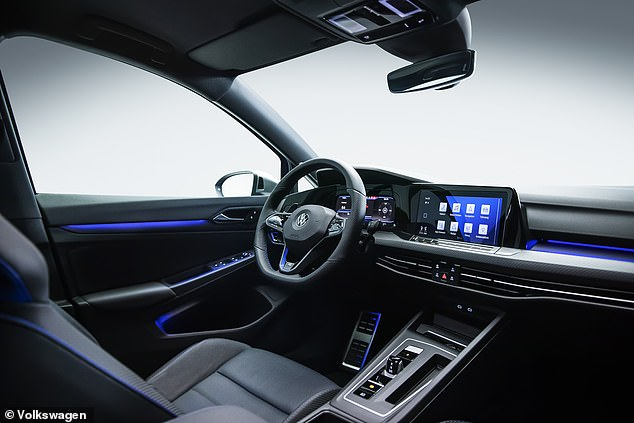 Inside, the blue tones tell it apart from the red-orientated Golf GTi, which sits below this car in the VW range