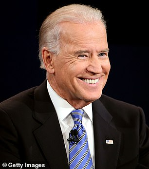 Analysts at Wells Fargo said a Joe Biden (pictured) win would boost stocks in the short term