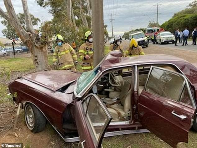 Pictured: The family's smashedclassic 1967 Ford Fairlane 500. The car has no airbags and is worth $100,000