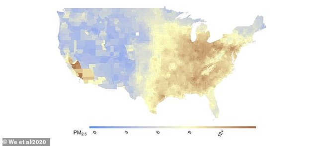 Pictured, the level of PM2.5 across the US. The average is 8.4μg/m3 but it ranges from as low as zero to as high as 12