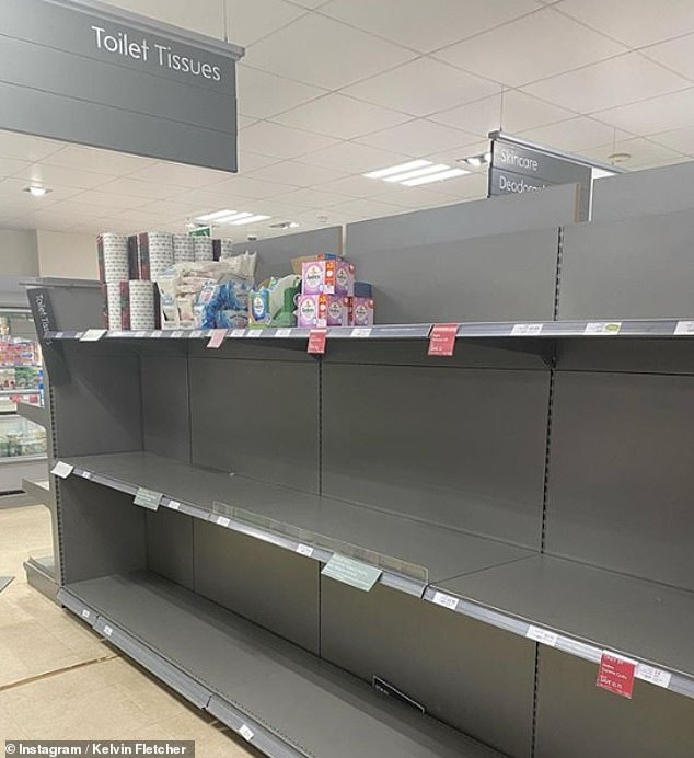 Fuming:The Emmerdale star took to Instagram to share a snap of the bare aisles at his local Waitrose as he questioned how others could be so selfish during the COVID-19 pandemic