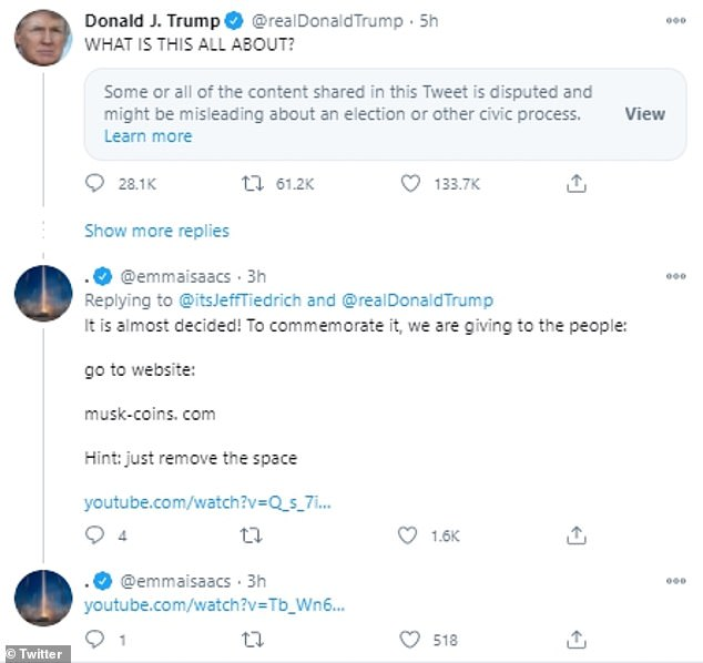 The user ¿@emmaisaac¿ rolled out this scam by targeting Trump¿s tweets shared Wednesday afternoon.To make things appear legitimate, emmaisaac event added links to YouTube Videos on SpaceX¿s account