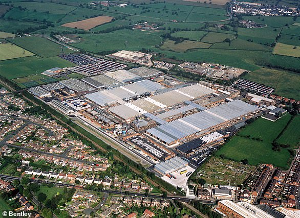 Aerial photographs of Bentley's vehicle factory located in Crewe in Cheshire