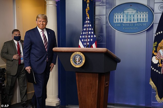 Trust me I won: Donald Trump takes to the White House briefing room podium to claim he won