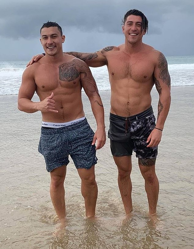 Adrian's brother Jaden's (pictured left, with Adrian) charges include four counts of rape, one of sexual assault, and seven each of filming a woman's genital region without consent and distributing the videos