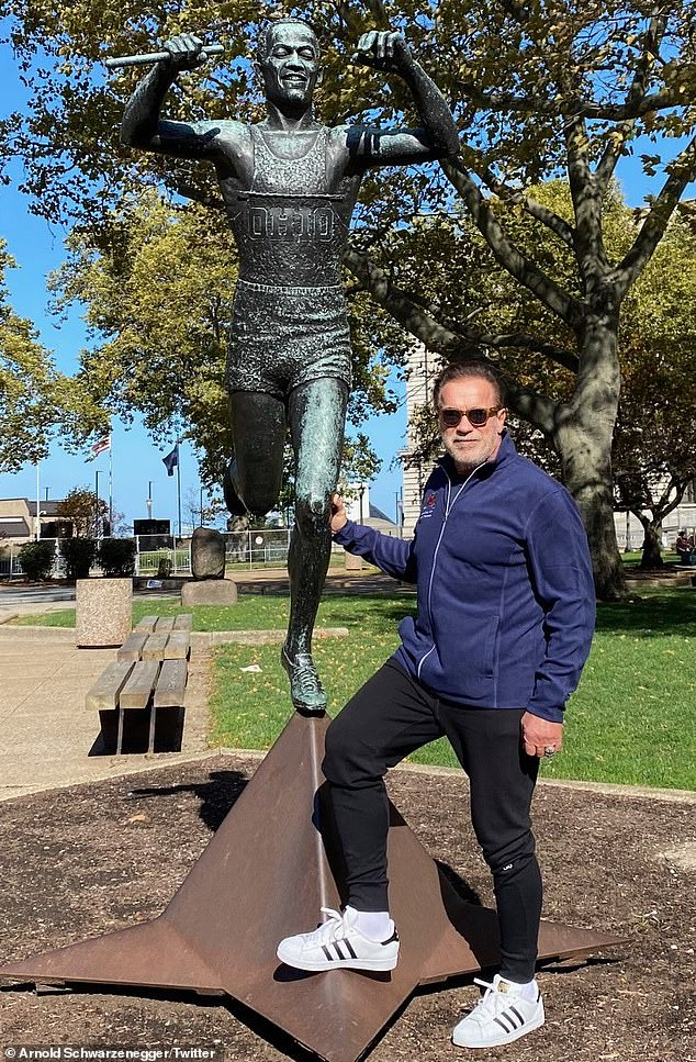 Quick recovery: He added:'I feel fantastic and have already been walking the streets of Cleveland enjoying your amazing statues. Thank you to every doc and nurse on my team!'