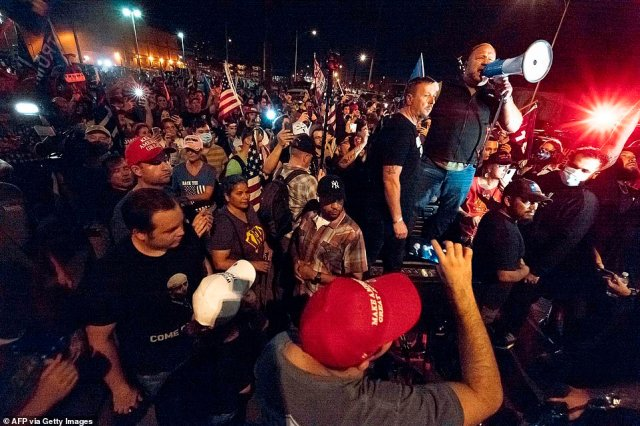 Trump supporters gathered in front of the Maricopa County Election Department on Thursday where ballots are still being counted
