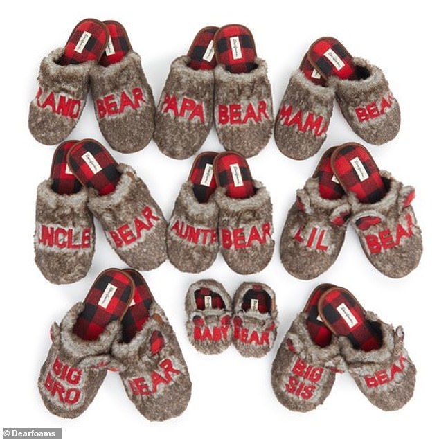 The new collection by Dearfoams features an assortment of coordinating furry slippers for every member of the family, including Mama Bear, Papa Bear and baby.