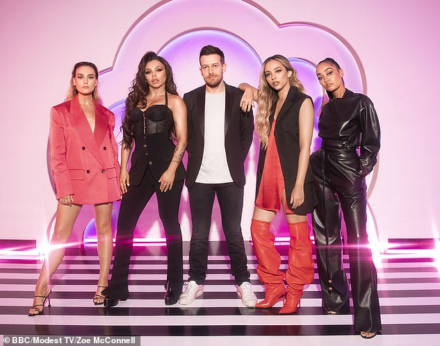 On hold: Little Mix: The Search was postponed in a last minute schedule shake-up, it was announced on Saturday (Little Mix pictured with host Chris Ramsay)