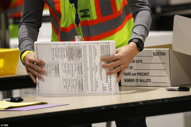 Trump, who held a 675,000-vote lead early Wednesday, prematurely declared victory in the state, which holds 20 electoral college votes. By Thursday evening Trump's lead had slipped to about 26,319 votes, as mail in ballots (pictured in Philadelphia) from across the state continued to be counted. The late counted ballots were overwhelming in Biden¿s favor
