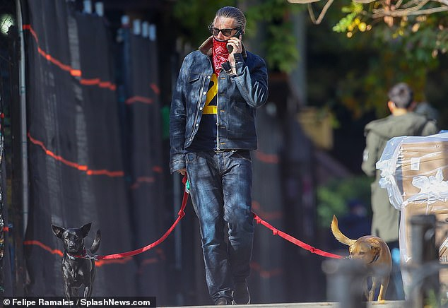 Masked up: The Boyhood actor had a dog on either side of him as he put his red bandana over his face while walking
