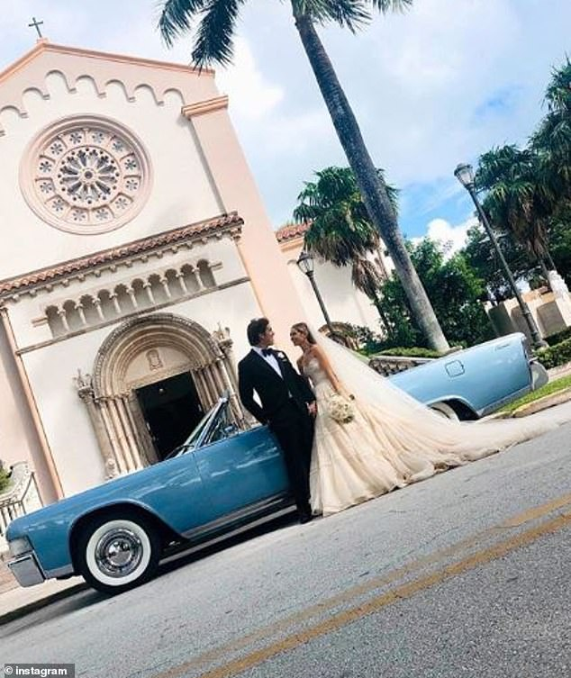 Special day:Eunice was also driven to the church in her grandmother's baby blue 1965 Lincoln Continental convertible, which was a gift from her husband Sargent