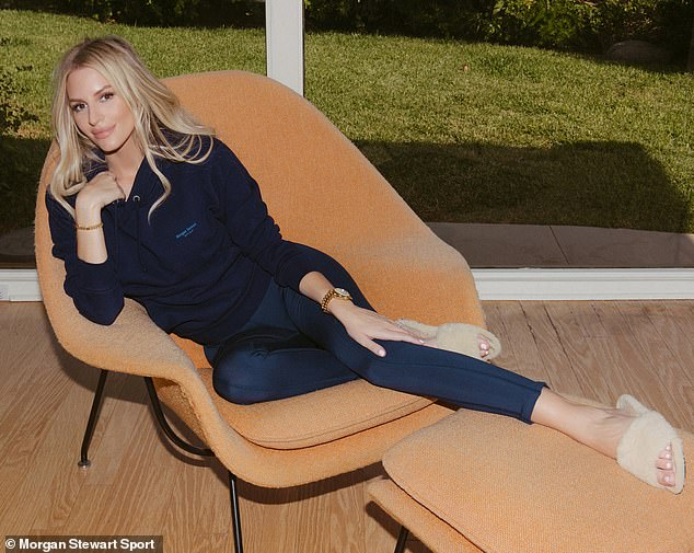 Comfy:: The Nightly Pop host effortlessly models the easy to wear separates while lounging around at home