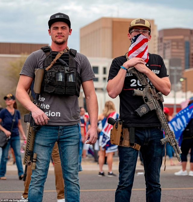 PHOENIX, ARIZONA: Several of the Trump supporters were armed as they chanted 'Count the Votes'