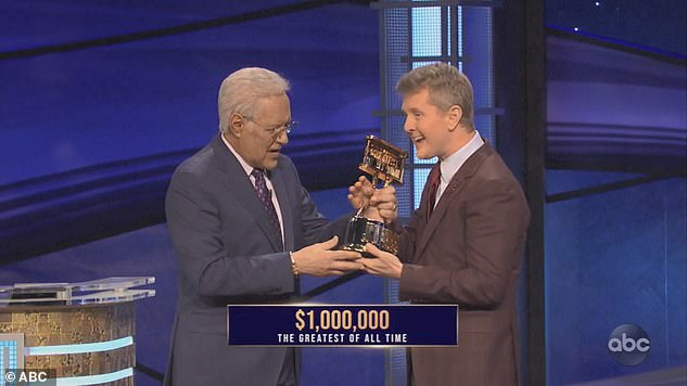 Ken Jennings (right), pictured with Trebek (left) has been crowned the champion of champions after winning Jeopardy!'s first Greatest of All Time tournament