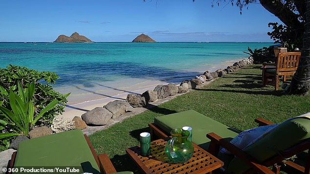 The  oceanfront villa is situated at Lanika Beach on Hawaii's Oahu island and offers stunning views  (pictured)