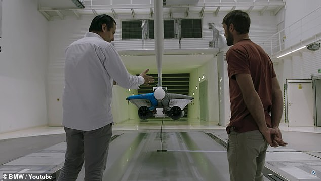 The first series of test flights were conducted in BMW's horizontal wind tunnel, AEROLAB, to validate the design before taking it to the sky