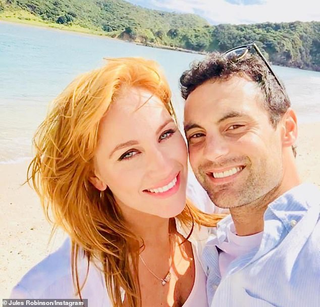 Thankful: She wrote in the caption, 'To think a leap of faith equals you lil (sic) one, Oliver Chase.' The 'leap of faith' Jules is referring to is signing up to Channel Nine's Married At First Sight where she first met her now-husband Cameron Merchant in 2018