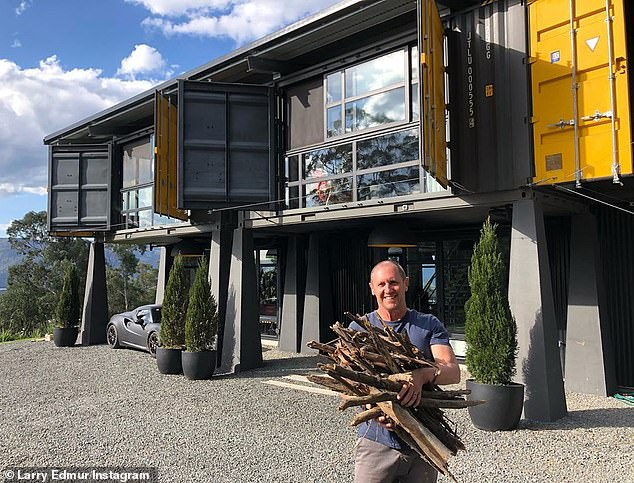 """Luxury getaway: He said of their Kangaroo Valley property, 'the moment we turned into the driveway of this epic shipping container home we knew we'd found it. It's like living in a work of art, it's just """"wow!"""""""