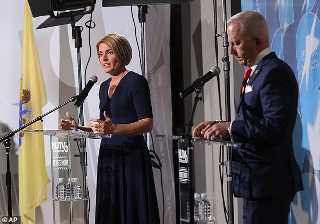 Van Drew defeated his opponent by almost 15,400 votes and flipped to the Republican party from the Democrats in December 2019. He is pictured alongside Democratic challenger Amy Kennedy during a debate in October 2020