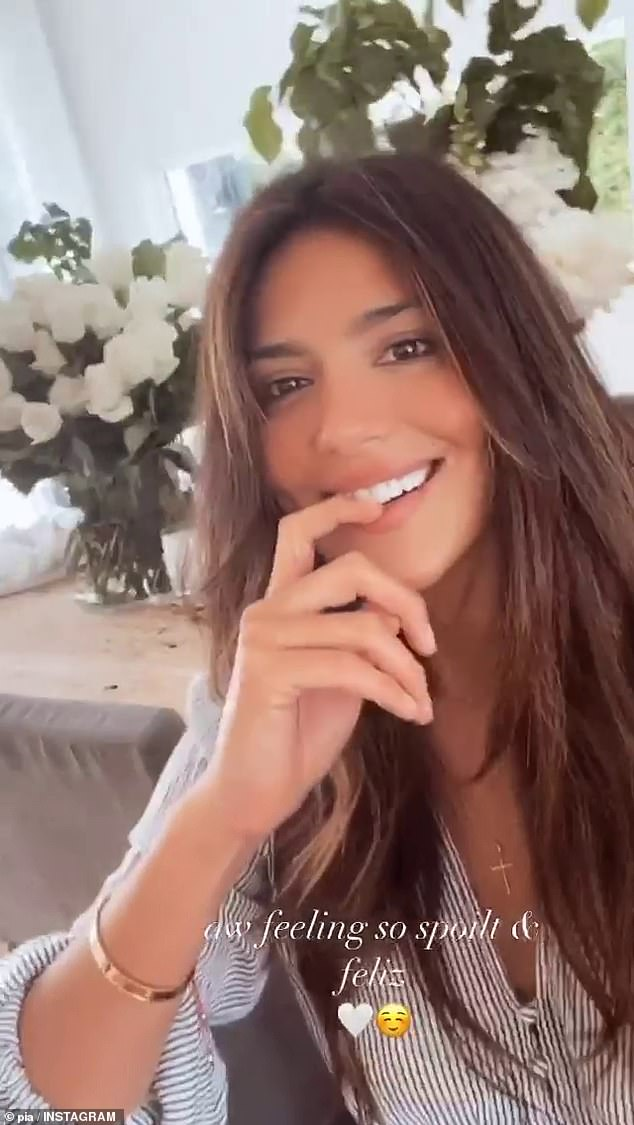 Romantic: The Chilean-born beauty celebrated her 37th this week surrounded by friends and family.Although her boyfriend Patrick Whitesell was unable to travel from his home in Los Angeles, he sent her a huge bouquet of peonies and white roses