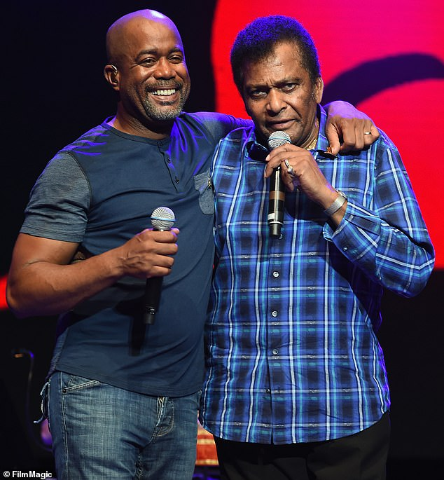 Country legends: Rucker ispresenting fellow Black country legend Charley Pride, 86, with the coveted Lifetime Achievement Award at the CMA Awards, which airs Wednesday, November 11 at 8pm ET on ABC (pictured in June, 2016)