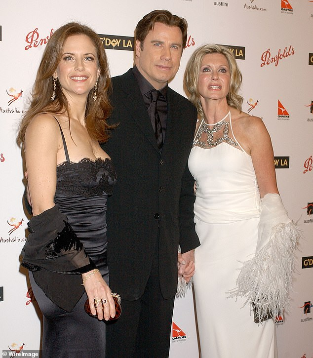 'They're doing as well as can be expected':Olivia Newton-John (right) has shared an update on how John Travolta (center) and his family is doing since Kelly Preston's death (left)