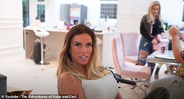 Come on in:Katie Price has given a glimpse inside her expansive Surrey home as she prepared to head on a romantic date with boyfriend Carl Woods