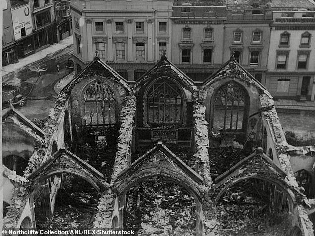 A study examined several areas that bore the brunt of the Blitz - including Coventry (pictured), Hull and Portsmouth