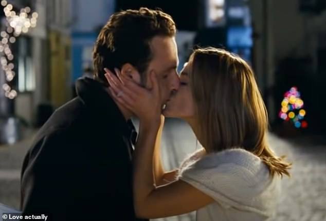 In one of the most famous scenes from the Richard Curtis classic, Mark appears at the door holding up handwritten signs wishing Juliet a 'Merry Christmas' adding 'to me, you are perfect'. Juliet (Keira Knightley) then kisses Mark
