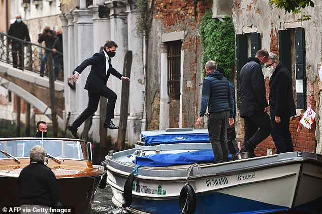 There he goes: Tom had earlier filmed a similar stunt to co-star Hayley
